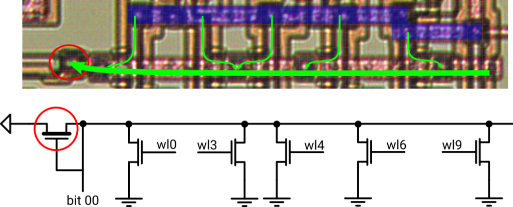 Tracing of sequencer ROM bitline 0 and equivelant circuit